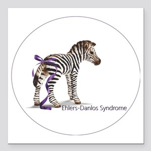 """zebra with ribbon Oval Square Car Magnet 3"""" x 3"""""""