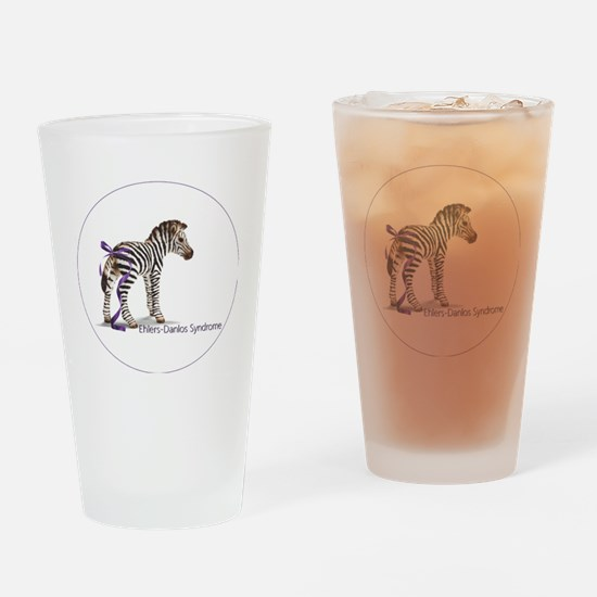 zebra with ribbon Oval Drinking Glass