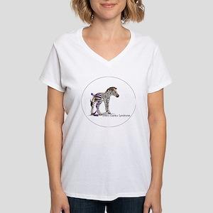 zebra with ribbon Oval Women's V-Neck T-Shirt