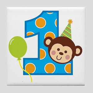 BoyPartyMonkey1stBirthdayV2 Tile Coaster