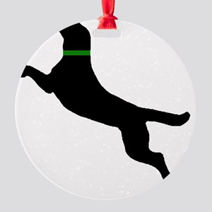 black dog new pocket Round Ornament