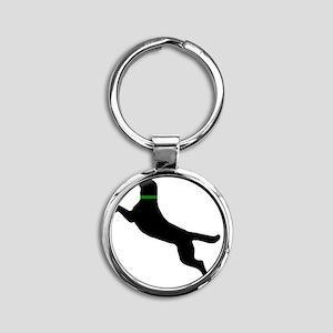 black dog new pocket Round Keychain
