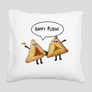 Happy Purim Hamantashen Square Canvas Pillow
