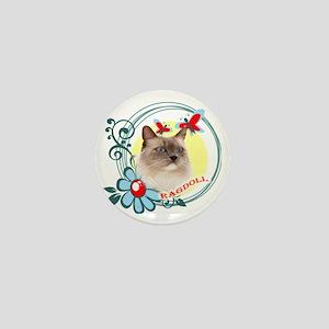 Ragdoll, Butterflies and Wild Flowers Mini Button