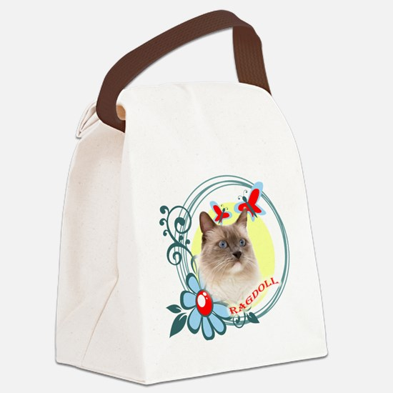 Ragdoll, Butterflies and Wild Flo Canvas Lunch Bag