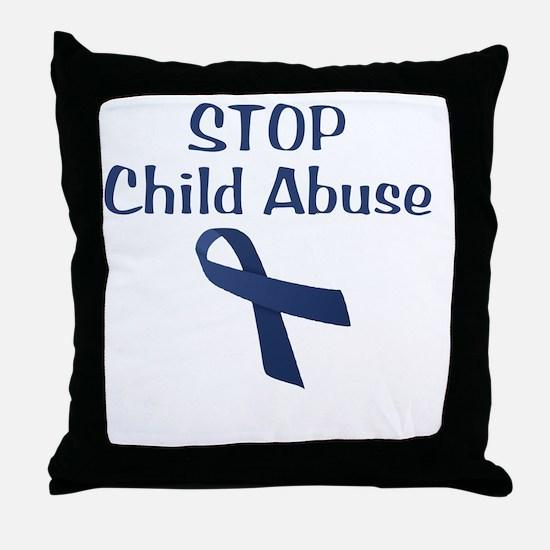 Child_Abuse_hurt_wht Throw Pillow