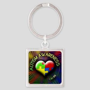 autismawareness-1in88-roundorsquar Square Keychain