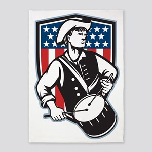 American Patriot Drummer With Flag 5'x7'Area Rug