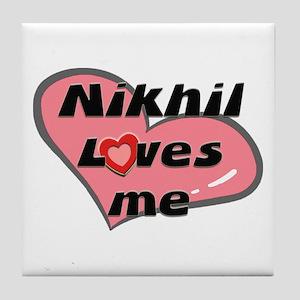 nikhil loves me  Tile Coaster