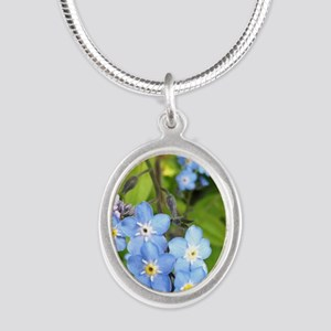 forgetmenotcrop Silver Oval Necklace