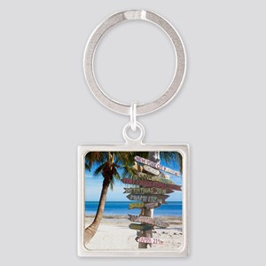 KeyWestSign7100 Square Keychain