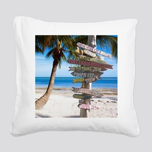KeyWestSign7100 Square Canvas Pillow