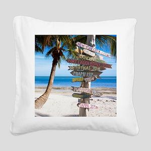KeyWestSign7100 Square Canvas Pillow