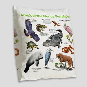 Animals of the Florida Evergla Burlap Throw Pillow