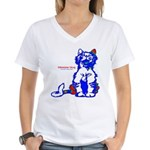 Funny Hello Meoow Women's V-Neck T-Shirt