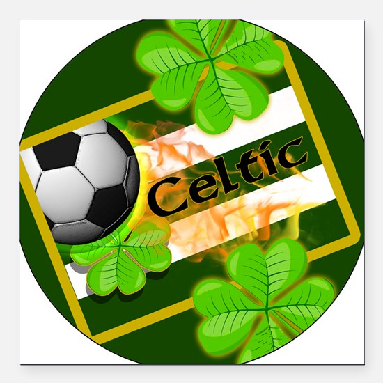 """celtic-football-3-in-but Square Car Magnet 3"""" x 3"""""""