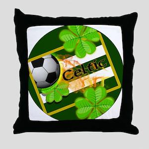 celtic-football-3-in-button Throw Pillow