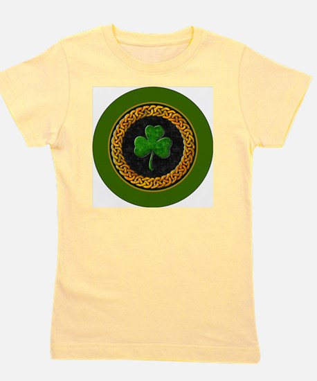 CELTIC-SHAMROCK-3-INCH-BUTTON Girl's Tee