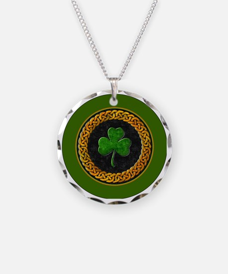 CELTIC-SHAMROCK-3-INCH-BUTTO Necklace Circle Charm