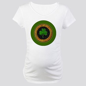 CELTIC-SHAMROCK-3-INCH-BUTTON Maternity T-Shirt