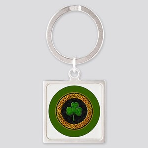 CELTIC-SHAMROCK-3-INCH-BUTTON Square Keychain