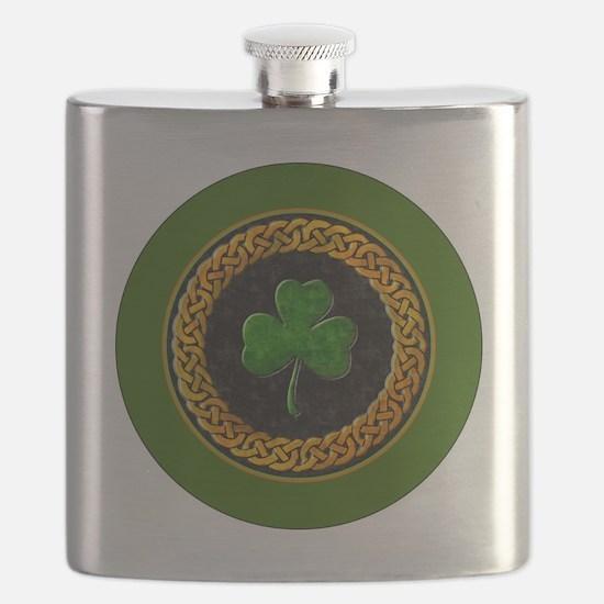CELTIC-SHAMROCK-3-INCH-BUTTON Flask