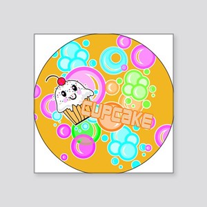 """CUPCAKE-3-INCH-BUTTON Square Sticker 3"""" x 3"""""""