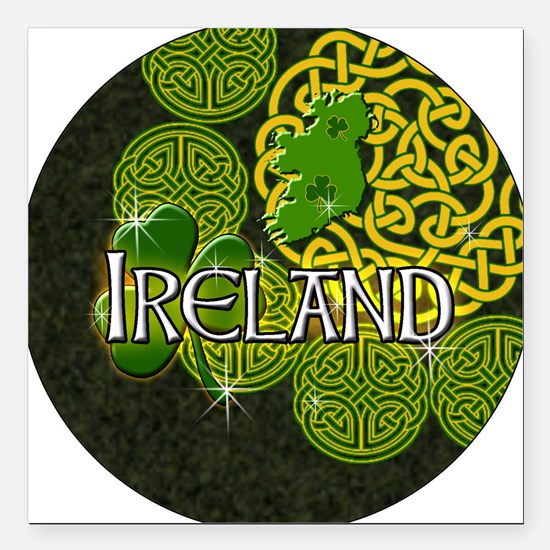 """ireland-3-inch-button Square Car Magnet 3"""" x 3"""""""