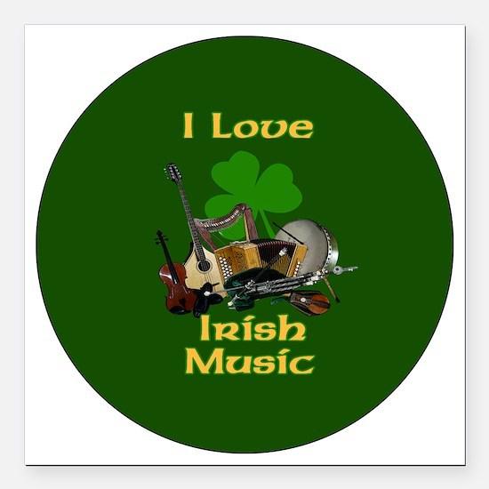 "irish-music-3-in-button Square Car Magnet 3"" x 3"""