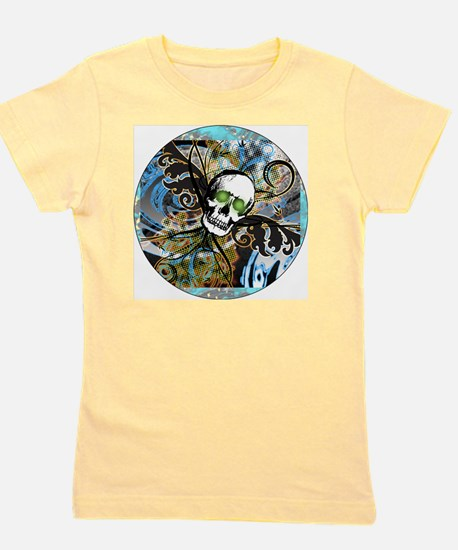 TRIBAL-WINGED-SKULL-3-INCH-BUTTON Girl's Tee