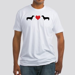 Dachshunds & Heart Fitted T-Shirt