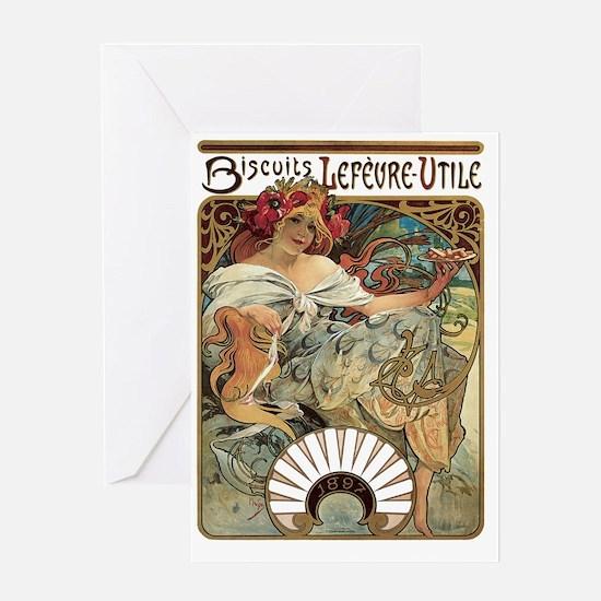 Alphonse Mucha Biscuits Lefevre Util Greeting Card