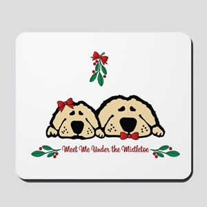 Meet Me Under the Mistletoe Dogs Mousepad