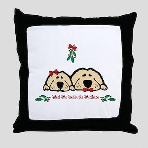 Meet Me Under the Mistletoe Dogs Throw Pillow