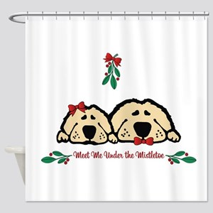 Meet Me Under the Mistletoe Dogs Shower Curtain