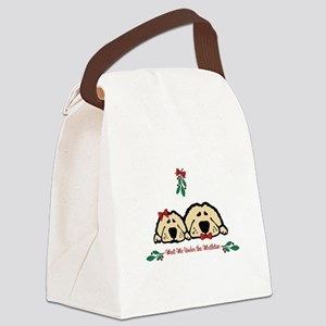 Meet Me Under the Mistletoe Dogs Canvas Lunch Bag