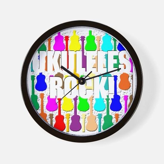 ukulele rocks uke ukuleles ukes Wall Clock