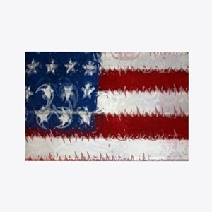 Patrotic USA  flag  note card Rectangle Magnet