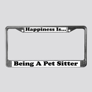 Happiness Is Pet Sitter wht License Plate Frame