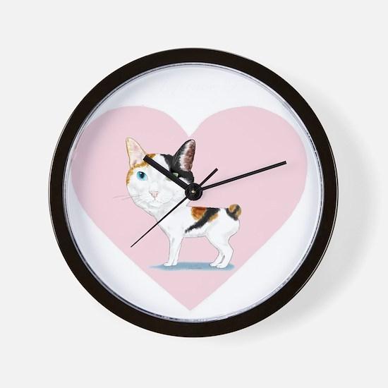 I_Love_Japanese_Bobtails_transparent_wh Wall Clock
