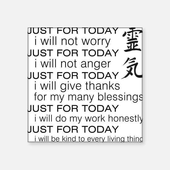 """JUST FOR TODAY BLACK Square Sticker 3"""" x 3"""""""