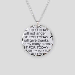 JUST FOR TODAY BLACK Necklace Circle Charm