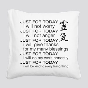 JUST FOR TODAY BLACK Square Canvas Pillow
