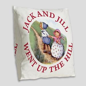 JACK AND JILL_RED Burlap Throw Pillow