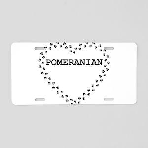 pomeranian name heart Aluminum License Plate
