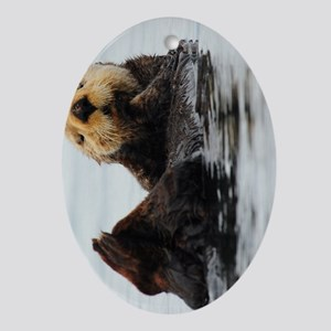 TabletCases_seaotter_1 Oval Ornament