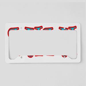 MIMI CURLZ RED AND AQUA License Plate Holder