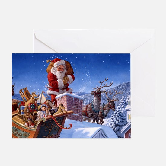 SANTA ON THE ROOFTOP Greeting Cards