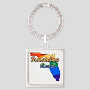 Fernandina Beach Square Keychain