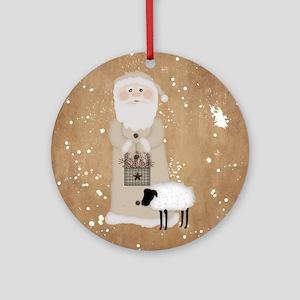 Primitive Santa Round Ornament